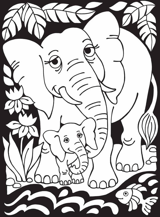 CUTE, MAMA and BABY ELEPHANTS...Welcome to Dover Publications