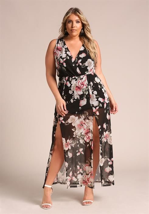 Plus Size Two Slit Floral Mesh Maxi Dress | deb in 2019 | Dresses ...