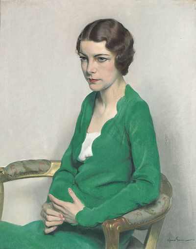 sir herbert james gunn  portrait of a lady wearing a green dress