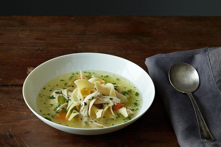 The simplest and best method for chicken noodle soup calls for fewer than 10 ingredients.