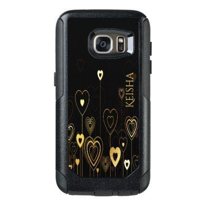 #stylish - #Gold hearts on black add name OtterBox samsung galaxy s7 case