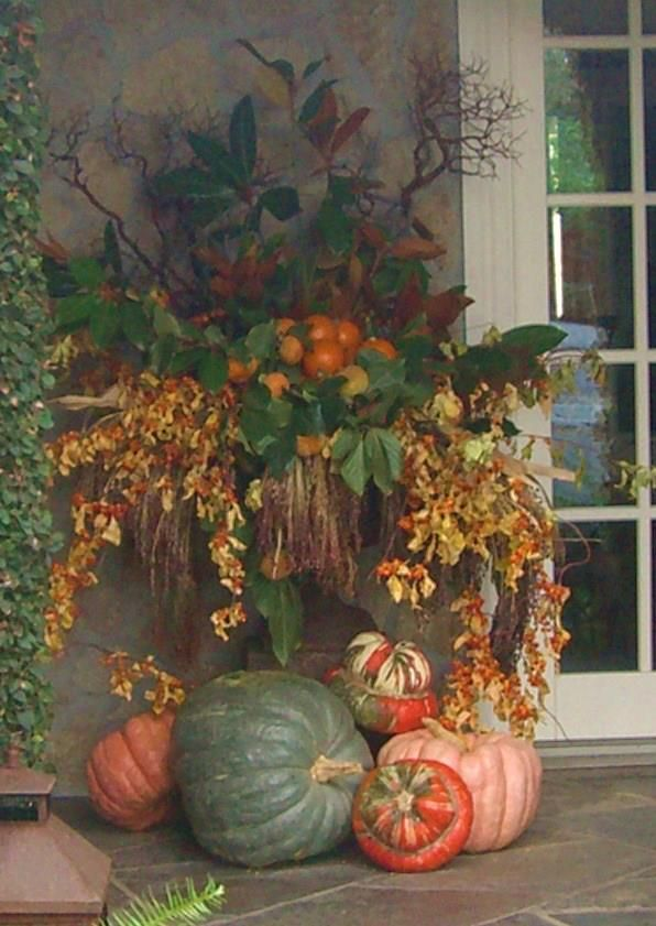 fall outdoor decorating and with a few minor changes this display can easily transition to christmas - Fall Decorations Ideas