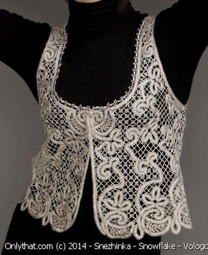 Vest Open Work - Vologda bobbin lace technique