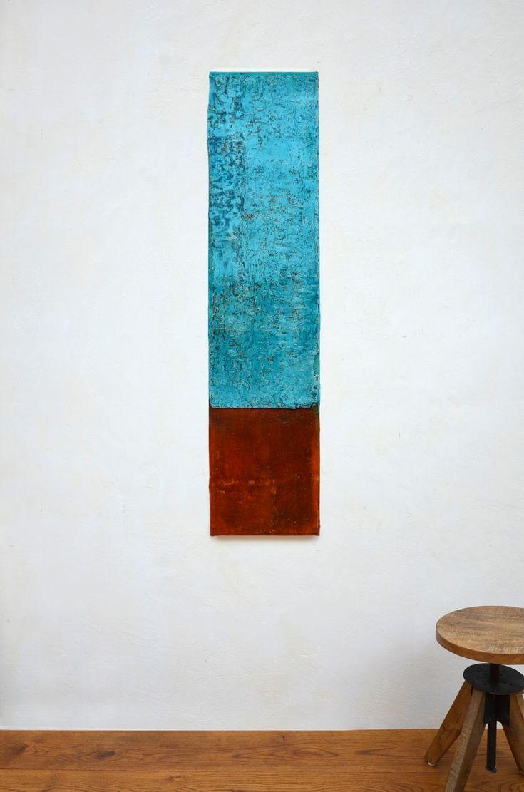 waterfall, 140 x 33 x 5 cm, Mischtechnik auf Leinwand