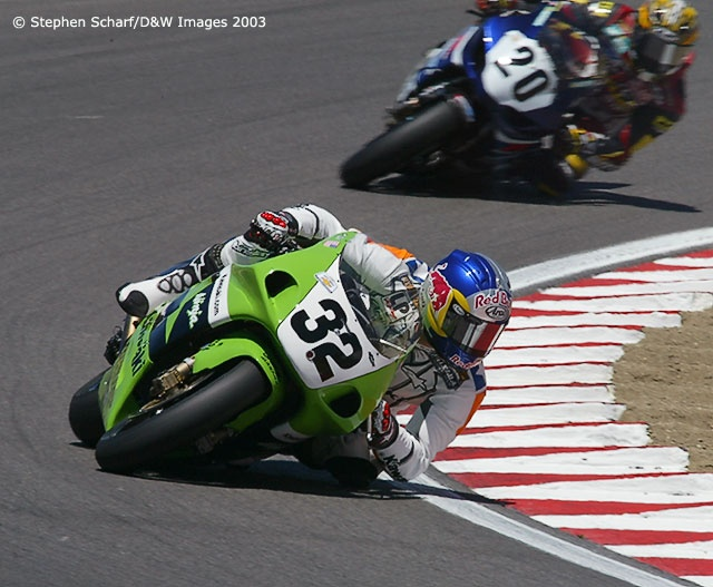 Eric Bostrom. Rule changes for 2003 permitted the introduction of 1000cc in-line 4's in the Superbike class. While other manufacturers took advantage of the rule change, E Boz rode Kawasaki's underpowered  ZX-7R (although bored out a bit) but still managed to pull wins at Laguna and Pikes Peak. Perhaps the last AMA season I enjoyed watching.