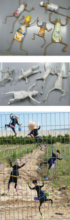 Papier Pappmache-Skulptur Bandits Kunst Puppen von RecycoolArt