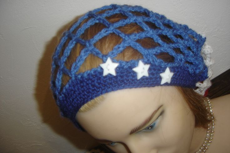 Bonnet large USA style drapeau Américain, country en point résille : Chapeau, bonnet par jodestyl