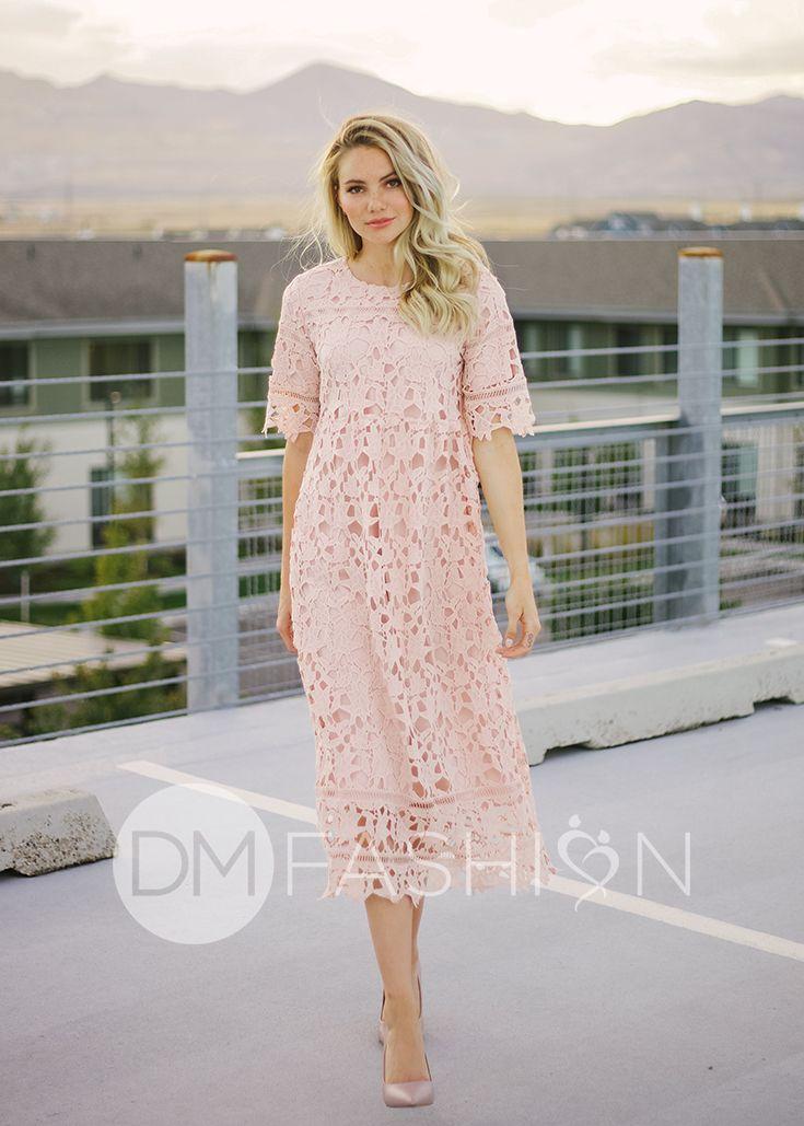 353788e9797f9f SANDRA - Crochet Lace Dress in Blush - Nursing Friendly