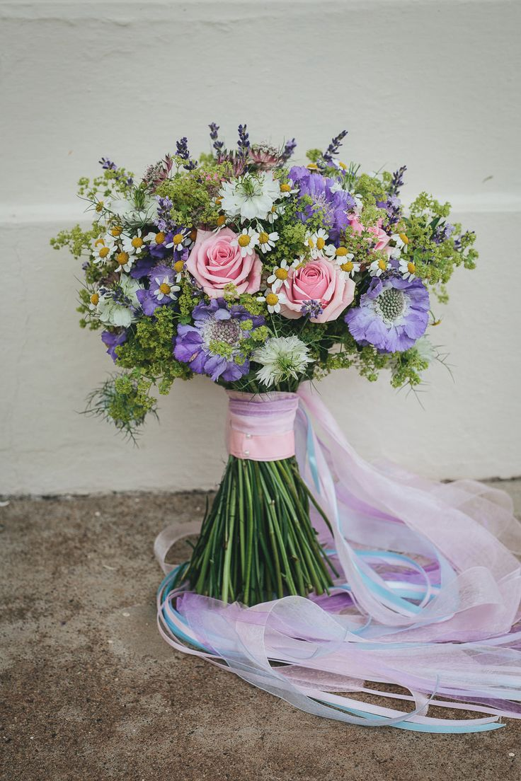 Wild Pink & Purple Hand Tied Bouquet | Beaconside House wedding venue Devon | Maggie Sottero bridal gown | vintage pub wedding theme | Highland Games | Images by Helen Lisk Photography | http://www.rockmywedding.co.uk/michaela-jon/