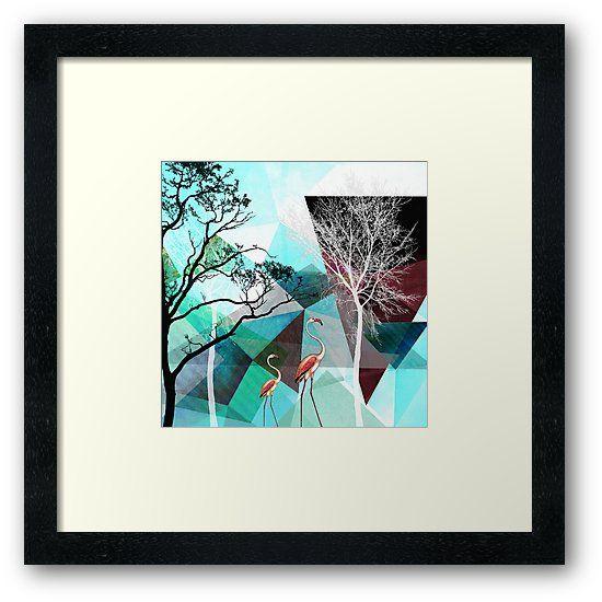 Mixed Media. Aus meiner aktuellen Konzept-Arbeit: Polygons &More. 2 Flamingos erwandern eine grafische Fantasielandschaft, bestehend aus geometrischen Formen, grafischen Elementen und Baum Silhouetten. ©2015-2017 Pia Schneider | atelier COLOUR-VISION. • Also buy this artwork on wall prints, apparel, stickers und more. #kunst #flamingos #türks #geometrie #triangles #art #landschaft #redbubble #piaschneider