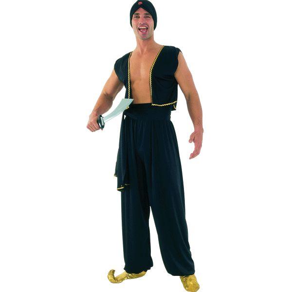 Zwart Sultan kostuum voor heren. Dit Sultan kostuum voor mannen bestaat uit de Sultan tulband, het zwarte vestje, de ceintuur en de harem broek. Carnavalskleding 2015 #carnaval