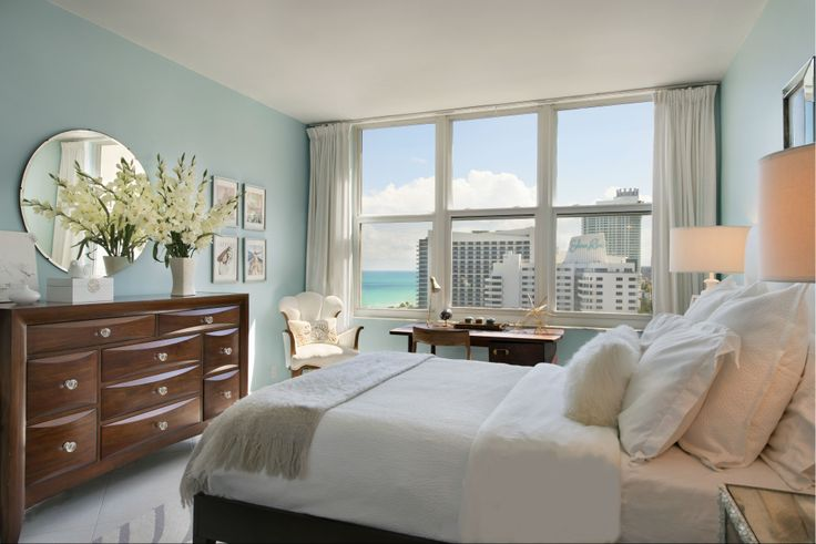 Miami Beach Apartment Feminine Bedroom Blue White Southerlyabode Blueoceanphotography