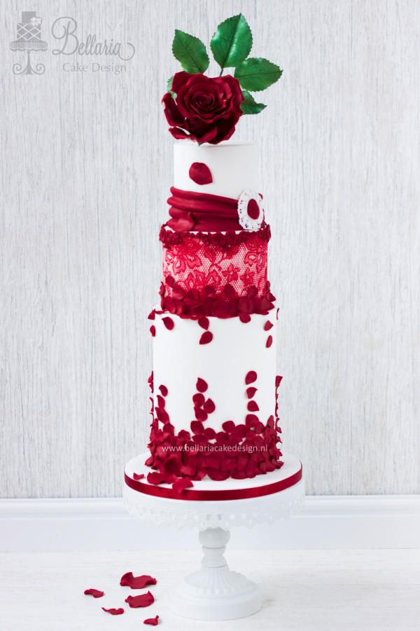 Valentine's wedding cake by Bellaria Cake Design  - http://cakesdecor.com/cakes/231873-valentine-s-wedding-cake