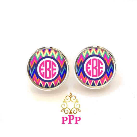Ikat Chevron Monogram Earrings Personalized Monogram Stud