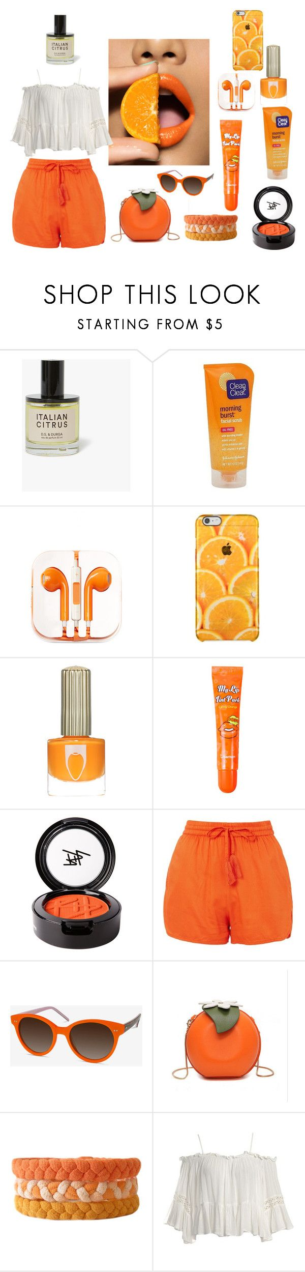 """Foodie Fashion: Orange You Glad?"" by makennadelaneypowell on Polyvore featuring Clean & Clear, PhunkeeTree, BERRISOM, Beauty Is Life, Topshop, EyeBuyDirect.com and Sans Souci"