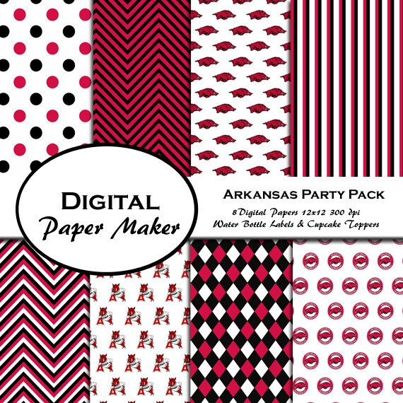 Arkansas Razorbacks Party Pack to use for by DigitalPaperMaker