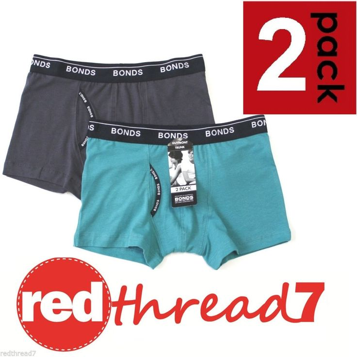 Bonds Boys 2 Pack Kids Guyfront Trunk Boxers Boyleg Shorts Underwear Size Trunks #redthread7
