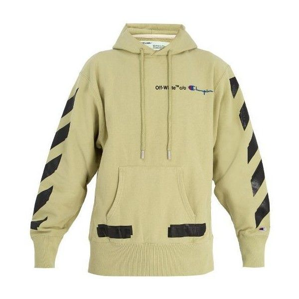 08f3b47a Off-White X Champion hooded cotton-blend sweatshirt ($705) ❤ liked on  Polyvore featuring men's fashion, men's clothing, men's hoodies, beige, ...