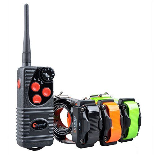 Aetertek Electric Pet Dog Remote Shock Training Collar No Barking Submersible Rechargeable E-collar (For three dogs) 216D >>> You can get additional details at the image link. #DogCollarsHarnessesLeashes