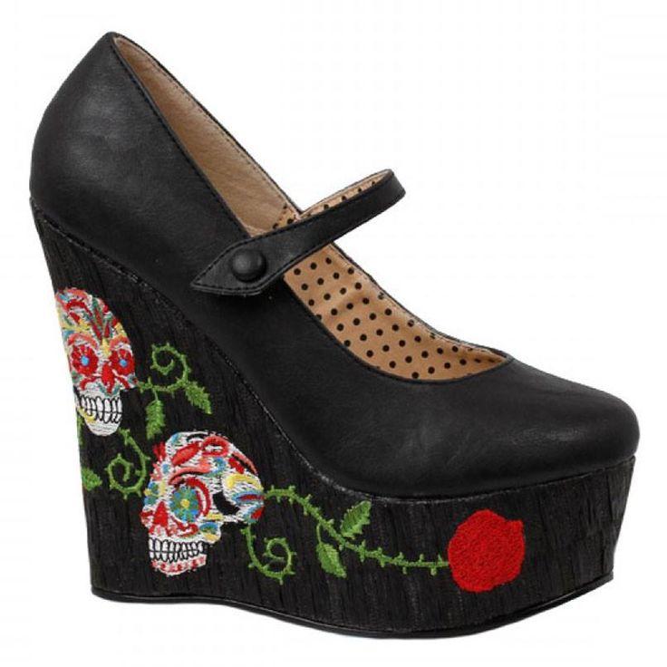 Black calavera wedge heels