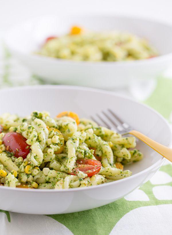 Pasta with Cilantro Jalapeño Pesto, Fresh Corn, & Tomatoes adds a hint of Southwestern flair to the pesto-pasta routine.