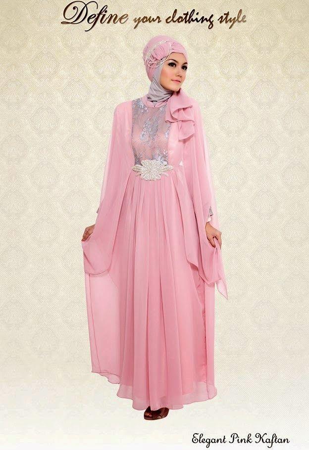 Gambar Desain Baju  Muslim Kaftan pesta contoh busana