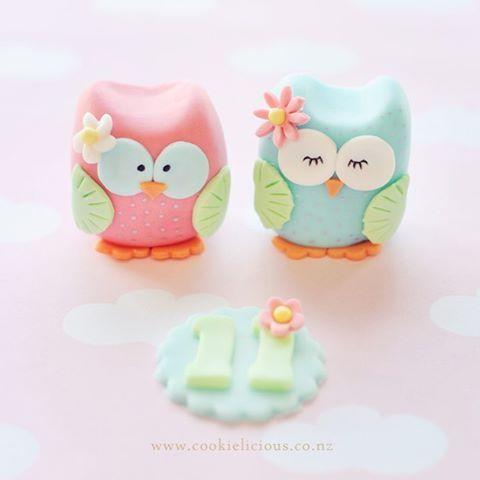 Baby Blue & Soft Pink Girl Owls Fondant Cake Topper