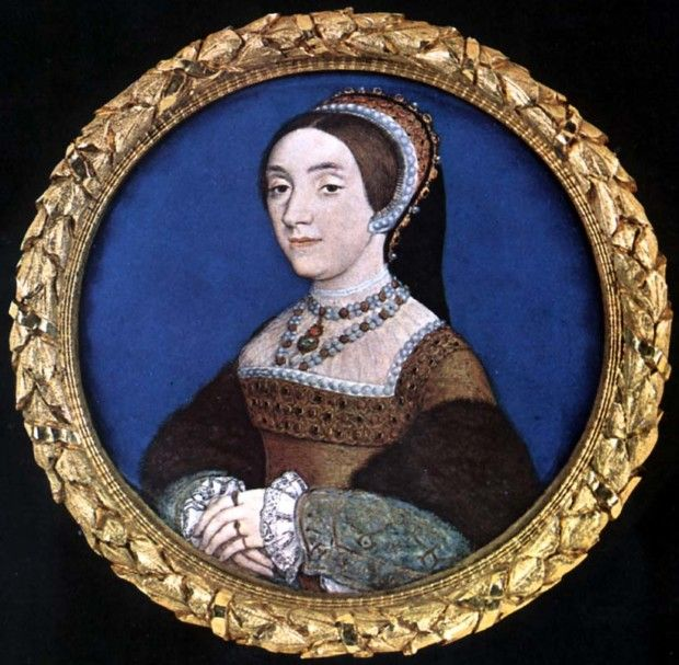 Portrait miniature of Catherine Howard by Hans Holbein the Younger, c. 1540, Buccleuch collection, Strawberry Hill House, wives henry VIII