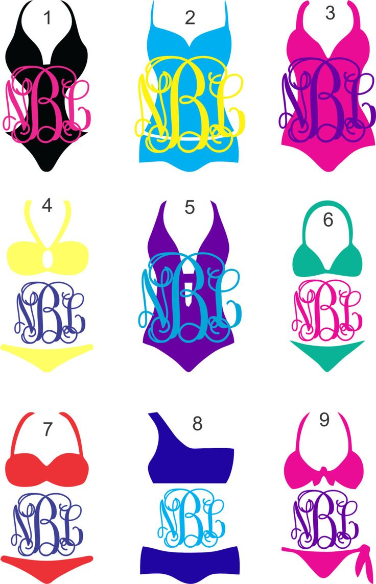Bathing Suit or Bikini Vine Monogram Vinyl Decal - 2 colors - beach getaway, bachelorette party, bridesmaid gifts, tumbler decal by ChicksDigVinyl on Etsy https://www.etsy.com/listing/191388819/bathing-suit-or-bikini-vine-monogram