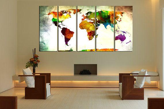 watercolor world map wall art canvas print by WorldWallArtShop