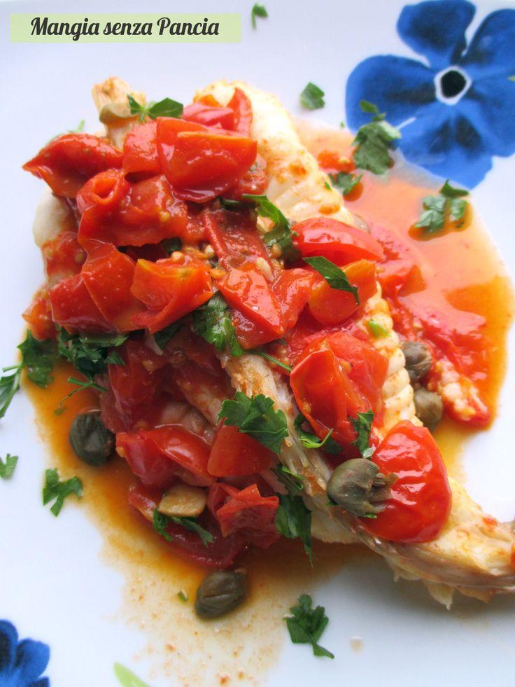 Coda di rospo con pomodorini e capperi, Mangia senza Pancia