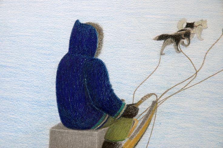 One Man Dog Team (detail) by Itee Pootoogook. 2007, Cape Dorset
