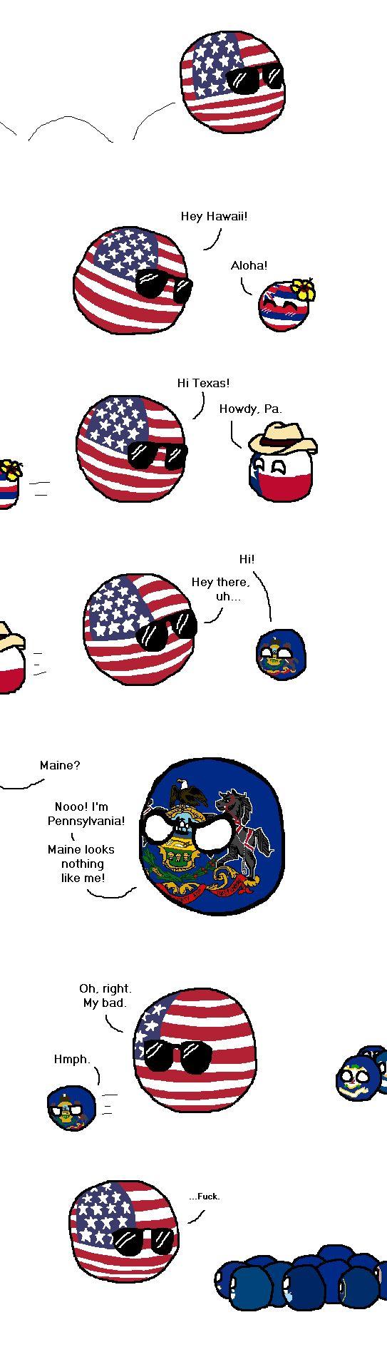 Distinguishing Traits ( USA, Hawaii State, Texas State, Pennsylvania ) by Mizuneko-chan #stateball #polandball #countryball