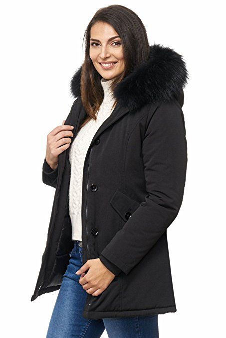 Elara Damen Winterparka | Jacke mit Echt Pelz / Echt Fell Kapuze | Designer Damenjacke | Gefütterte Outdoor Mantel | chunkyrayan XXS-XXXL: Amazon.de: Bekleidung