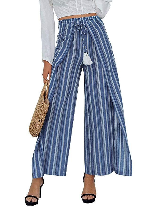 0cf178f4eab0 Simplee Women s Casual Loose Wide Leg Pants High Waisted Striped Palazzo  Pants Blue 8
