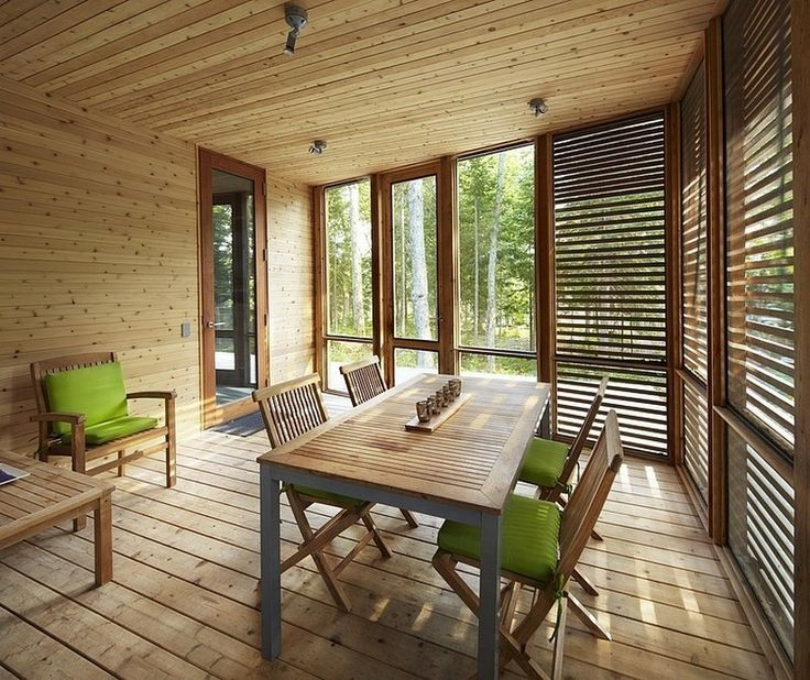 A Fascinating Wooden Dining Furnitures With Sweet Green Color In A Cedar Trim Dining Room With Glass Window And Venetian Blind Integration of the House in the Wood with Minimal Impact to the Environment Interior design