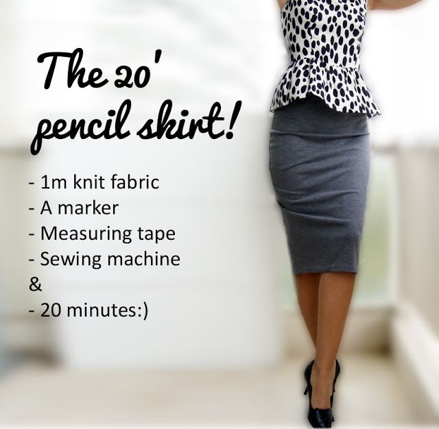 Knit Pencil Skirt Tutorial. . .will translate to english. .. 1 yard of knit . . .I would use wide elastic for waist. . .patterned, dot, horizontal stripe fabric. . .zig zag wide elastic to wear as high waist or fold under as waistband. . .hem below knee. . .