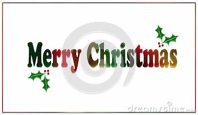 A simple white card or poster, with a textured, bright, rainbow text reading `Merry Christmas `. The design is finished off with small holly sprigs