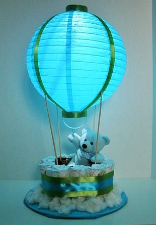 Custom made Diaper Cakes and Designs.  Hot Air Balloon lit up!