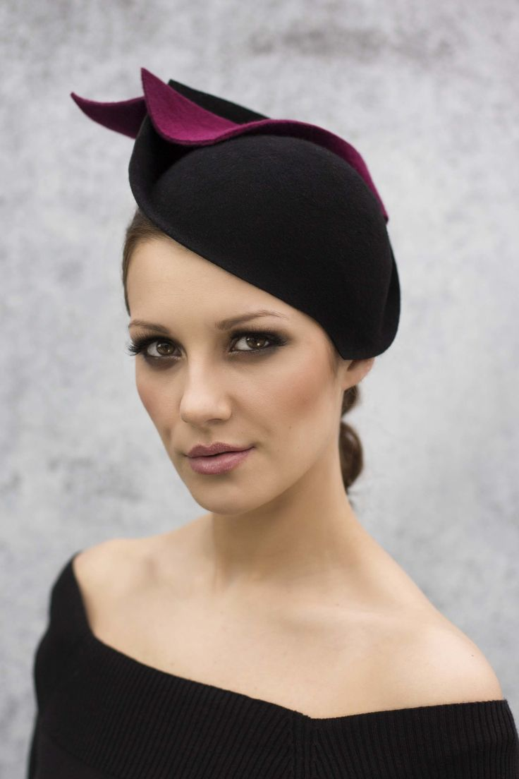 Cocktail Hat - Felt Sweep - Dana — Maggie Mowbray Millinery