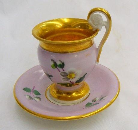 Old Paris Hand Painted Porcelain Cup & Saucer: