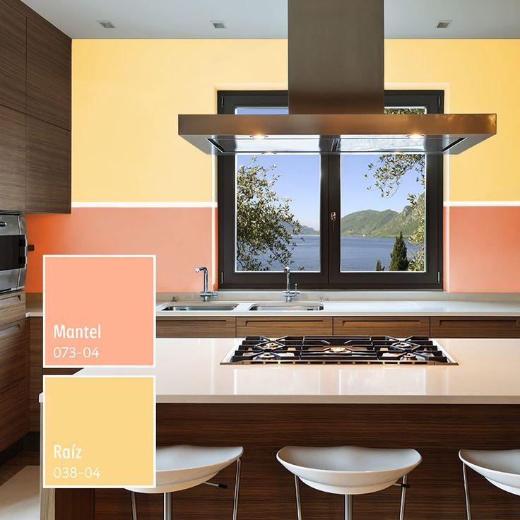 Los tonos cálidos y luminosos harán resaltar los muebles color chocolate en tu cocina. #ColorLife
