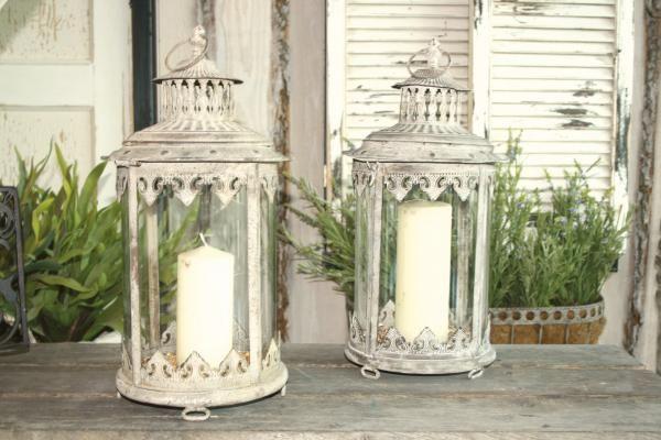 Antik fém gyertyatartó lámpás, üveg betéttel.