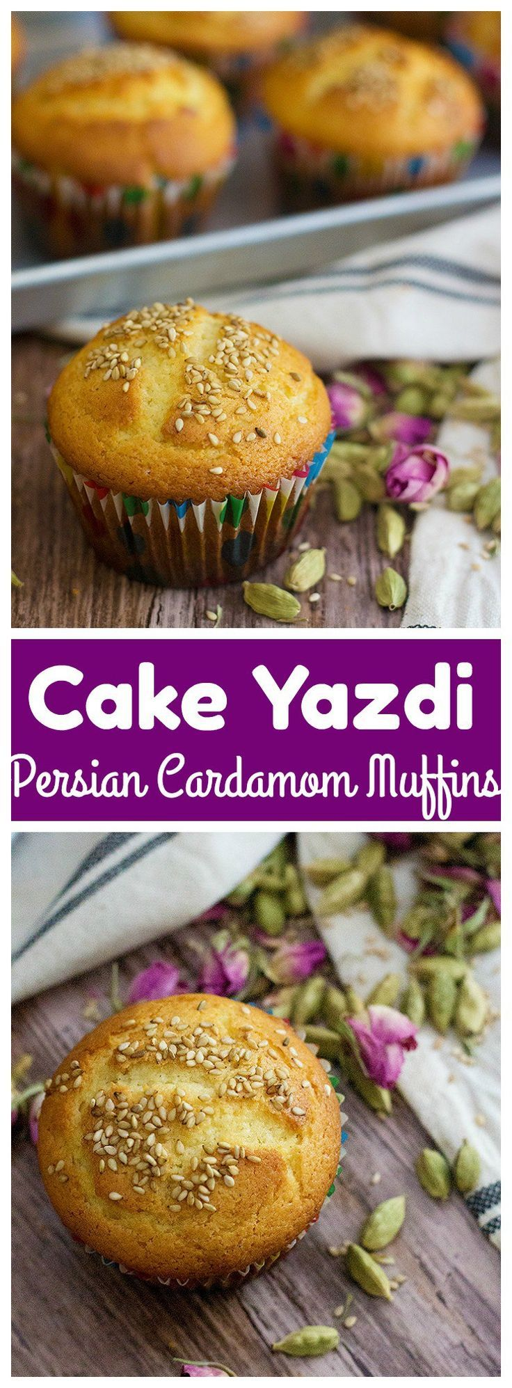 Persian Cardamom Muffins – Cake Yazdi is a traditional Iranian/Persian recipe for delicious muffins that are filled with Persian flavors. The combination of rose water and cardamom is always great.