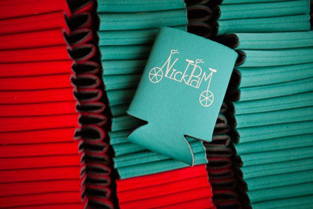Red & Aqua wedding | Custom wedding favors | bicycle themed wedding | Harper Point Photography