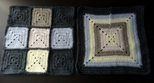 Solid granny square cushion /pilllowcase sides