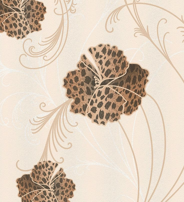 Papel pintado flores estampadas piel de leopardo marrón - 1140320