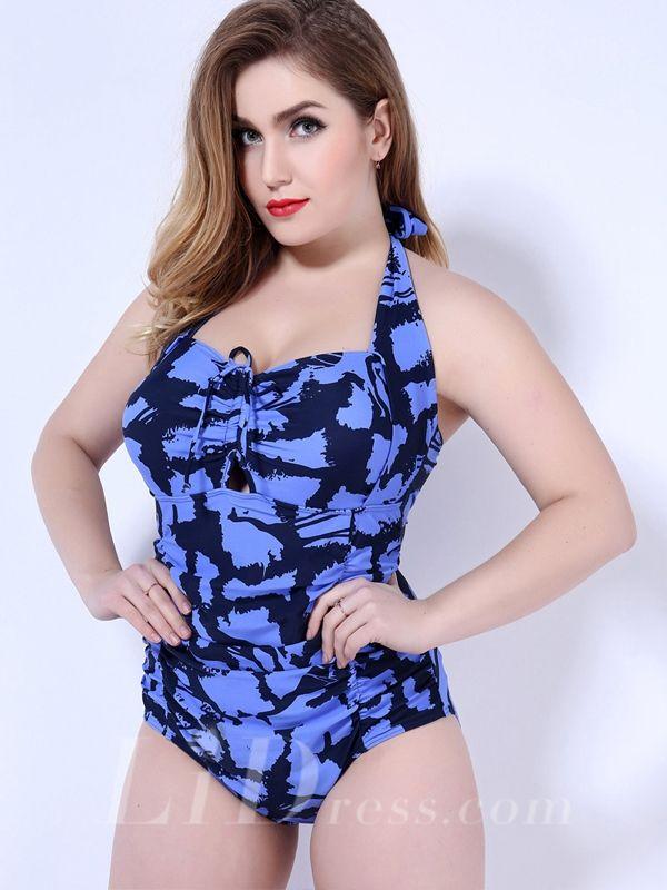 Blue Colorful Pieces Print Plus Size Womens Swimsuit Lidyy1605202049