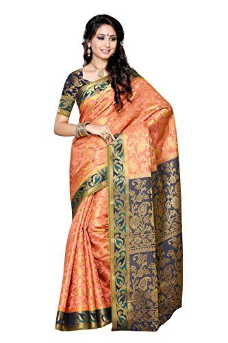Mimosa Women's Traditional Art Silk Saree Kanjivaram Style With Blouse Color:Peach(3296-140-PCH-NVY ) - http://www.onlinesaleindia.in/product/mimosa-womens-traditional-art-silk-saree-kanjivaram-style-with-blouse-colorpeach3296-140-pch-nvy/