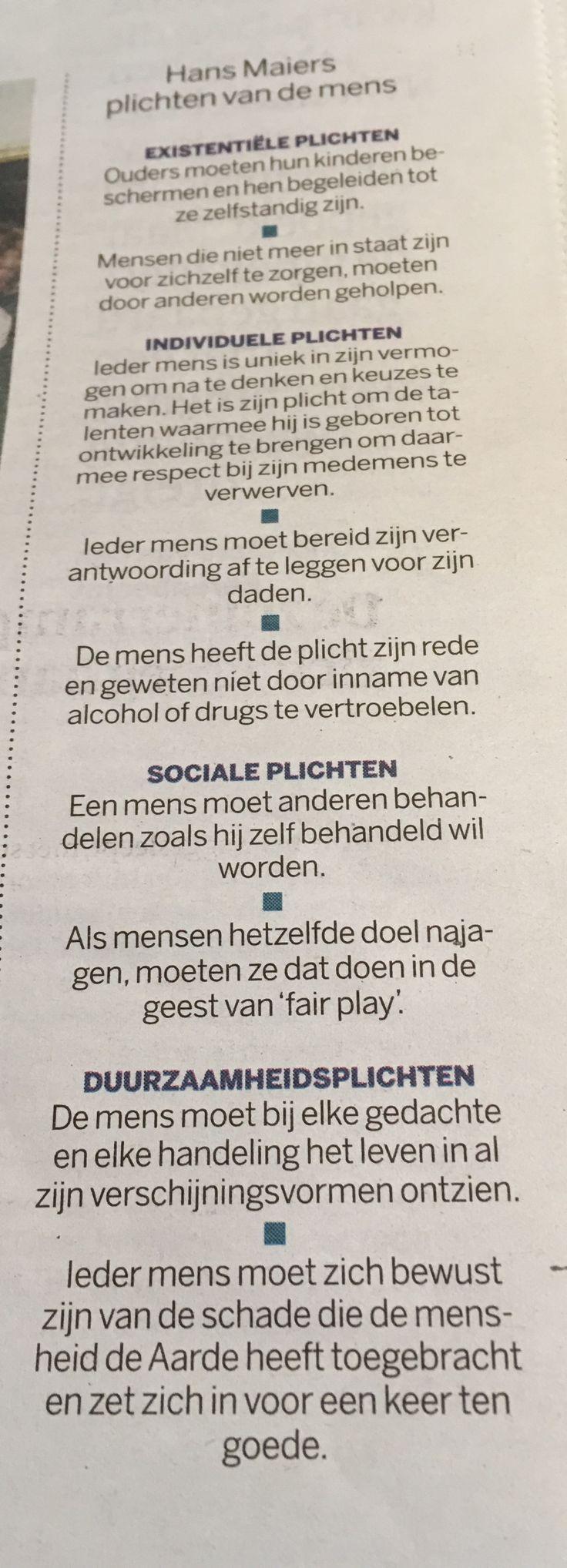 Mooi vind ik dit: Maiers' plichten van de mens. Uit de Volkskrant van vrijdag 8 juli 2016.
